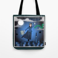 mary poppins Tote Bags featuring Mary Poppins by Vannina