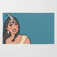pocahontas Area & Throw Rugs featuring Pocahontas Mononoke by Maira Artwork