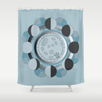 moon phases Shower Curtains featuring Moon Phases by TypicalArtGuy