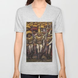 From the Dictatorship of Porfirio Díaz to the Revolution, The People in Arms by David Siqueiros Unisex V-Neck