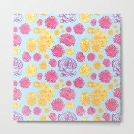 Pink and Blue Floral Print Metal Print