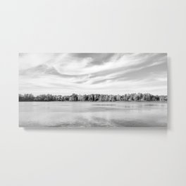 Clouds Above The Lake in Black and White Metal Print