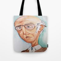 larry david Tote Bags featuring King Larry David by Kendall Sudduth