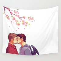 cherry blossoms Wall Tapestries featuring Cherry Blossoms by brightfallenstars