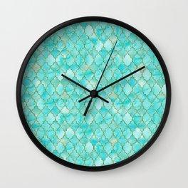 Luxury Aqua Teal and Gold oriental quatrefoil pattern Wall Clock