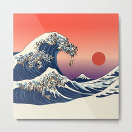 The Great Wave of Pugs / Square Metal Print