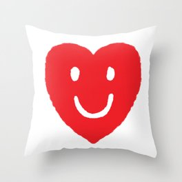Happy Heart Smile Face Drawing Throw Pillow