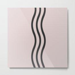 Pastel Pink Black  Waves Metal Print