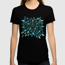 Glitter Dahlia in Gold, Aqua and Ocean Green T-shirt