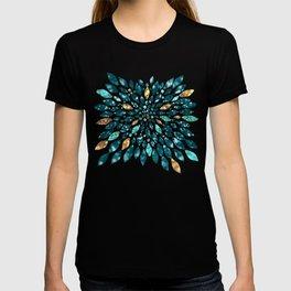 Glitter Dahlia in Gold, Aqua and Ocean Green T-shirt