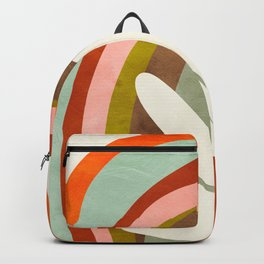 abstract rainbow with white matisse leaf Backpack