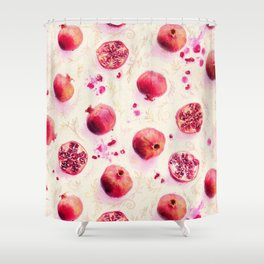 Painted Pomegranates with Gold Leaf Pattern Shower Curtain