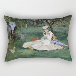 Édouard Manet - The Monet Family in Their Garden at Argenteuil (1874) Rectangular Pillow