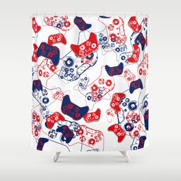 Video Game Red White & Blue 3 Shower Curtain