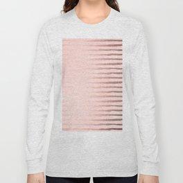 Rose Gold Blush Stripes Long Sleeve T-shirt