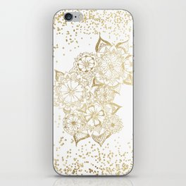 Hand drawn white and gold mandala confetti motif iPhone Skin