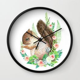 squirrel with flowers Wall Clock