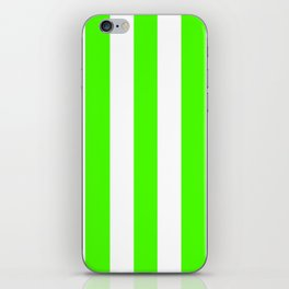 Chlorophyll green - solid color - white vertical lines pattern iPhone Skin