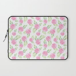 Blush pink green modern watercolor hand painted camellias Laptop Sleeve