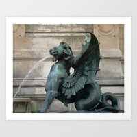 "Paris Urban Photography ""Paris Chimera"" Large Art Print, Travel Wall Art, Living Room Fine Art Print Art Print"