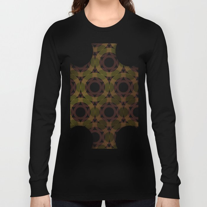 Beaded Circles Maroon and Gold Long Sleeve T-shirt