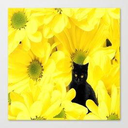 Black Cat Yellow Flowers Spring Mood #decor #society6 #buyart Canvas Print