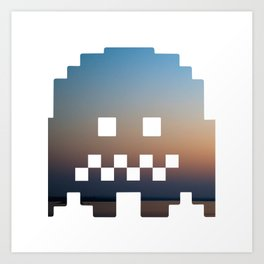 Pacman robot with clouds Art Print