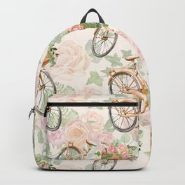 Watercolor Flower Bike Floral Bicycle Blush pink Garden Spring Summer illustration Art painting Backpack