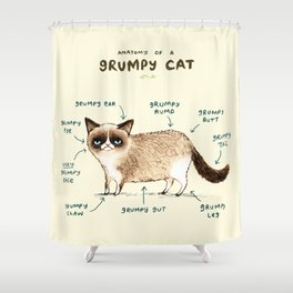 Anatomy of a Grumpy Kitty Shower Curtain
