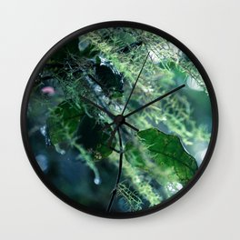 Leaves in Morning Dew Wall Clock