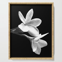 White Flowers Black Background Serving Tray