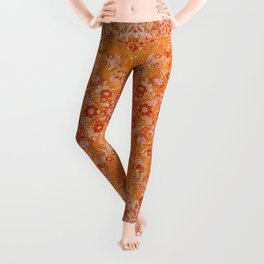 Orange Boho Oriental Vintage Traditional Moroccan Carpet style Design Leggings