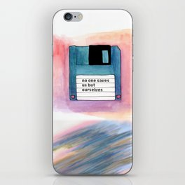 no one saves us but ourselves - floppy disk iPhone Skin