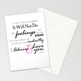 I Admire & Love you - Mr Darcy quote from Pride and Prejudice by Jane Austen Stationery Cards