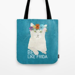 Be like Frida! White cat in flower crown on sky blue Tote Bag