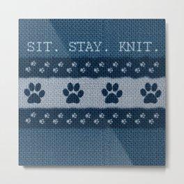 Pet Lover, Knitter, Artist. Blue. Metal Print