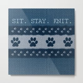 Pet Lover, Knitter, Artist. Blue. Metal Print