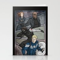 winter soldier Stationery Cards featuring Winter Soldier by DeanDraws