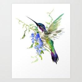 Hummingbird and Blue Flowers Kunstdrucke