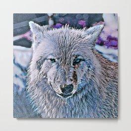 Toony Wolf, blue Metal Print
