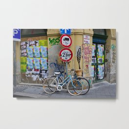 Bicycles and Street Art in Budapest's Old Jewish Ghetto Metal Print