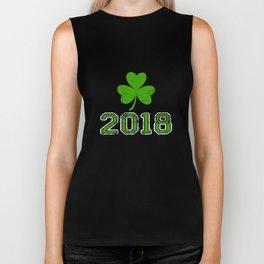 2018 Distressed Green Four Leaf Irish St Patty's Day Biker Tank