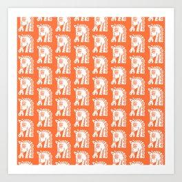 Mid Century Horse Pattern Orange Art Print
