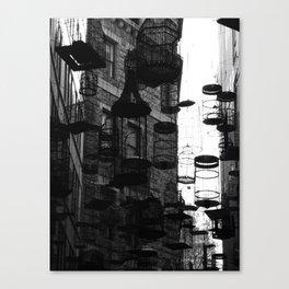 03 Black & White Bird Cages Canvas Print