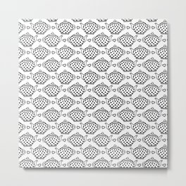 polka dot teapots and hearts  pattern Metal Print