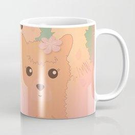 Alpaca Family II - Mint Green Spring Cherry Blossom Background Coffee Mug