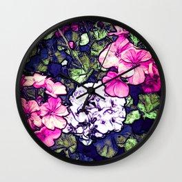Pink Geraniums, Goddess Energy Wall Clock