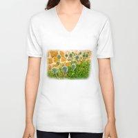 globe V-neck T-shirts featuring Globe thistles by Pirmin Nohr