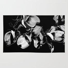 Dogwood Tree Flowers (black background) Rug
