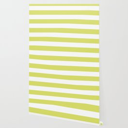 Bored accent green - solid color - white stripes pattern Wallpaper